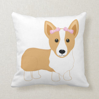 Corgi Girl with Pink Bows Pillow