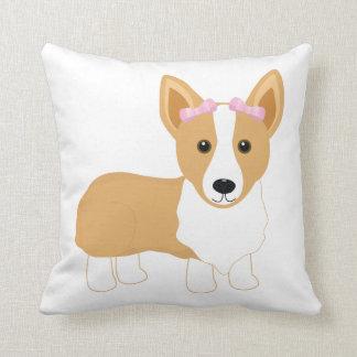 Corgi Girl with Pink Bows Pillow