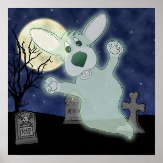 Corgi Graveyard Ghost Poster
