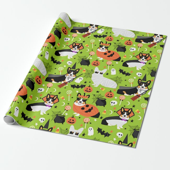 Corgi Halloween Costumes Wrapping Paper