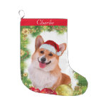 Corgi Holiday Large Christmas Stocking