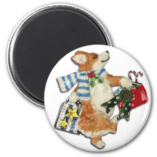 Corgi Holiday Shopper Fridge Magnets