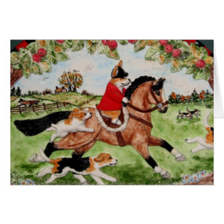 Corgi Huntsman Rides to Hounds Greeting Card