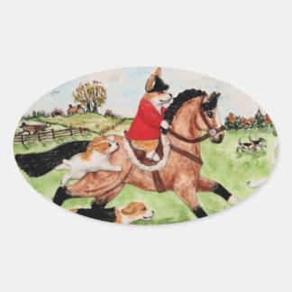 Corgi Huntsman Rides to Hounds Sticker