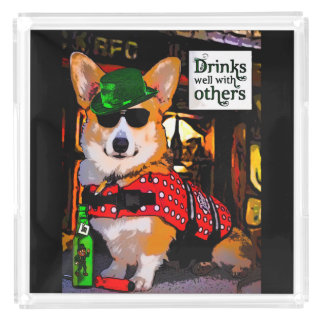 Corgi in a Bar Square Serving Trays