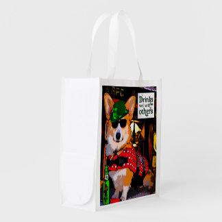 Corgi in a Bar Reusable Bag