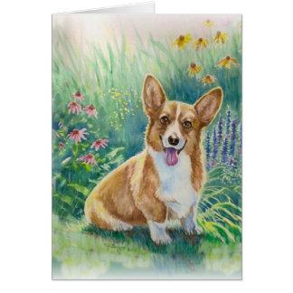 Corgi in the Garden Card