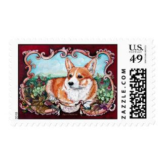 Corgi in the Garden! Postage Stamp