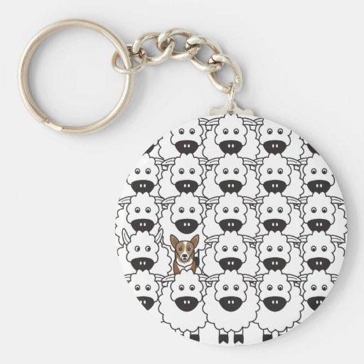 Corgi in the Sheep Basic Round Button Keychain