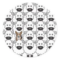 Corgi in the Sheep Classic Round Sticker