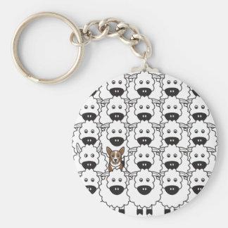 Corgi in the Sheep Key Chain