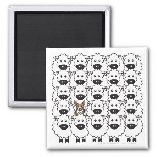 Corgi in the Sheep Fridge Magnets
