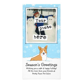 Corgi in the Snow Holiday with Custom Text Card