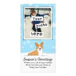 Corgi in the Snow Holiday with Custom Text Photo Card