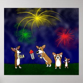 Corgi July 4th Fireworks Poster