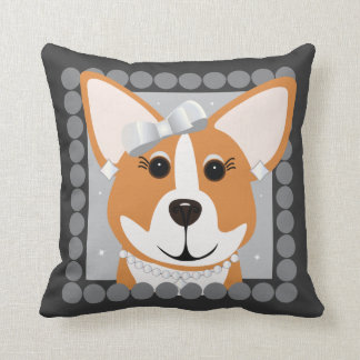 Corgi Lady Gray Throw Pillow