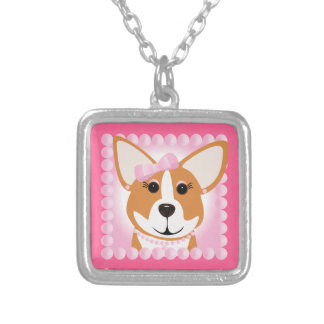 Corgi Lady Pink Silver Plated Necklace