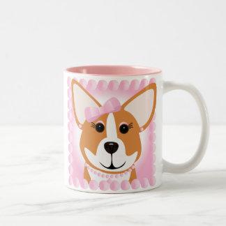Corgi Lady Pink Two-Tone Coffee Mug