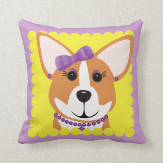 Corgi Lady Throw Pillow