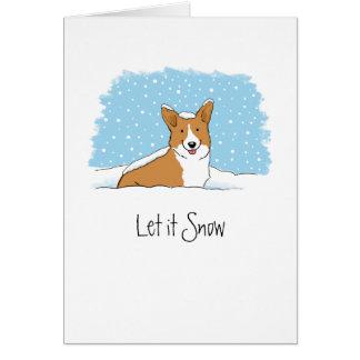 Corgi Let it Snow - Customizable Text Card