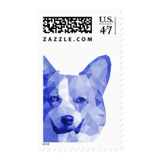Corgi Low Poly Art in Blue Postage