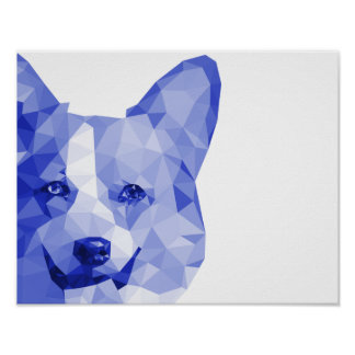 Corgi Low Poly Art in Blue Poster