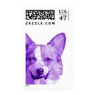Corgi Low Poly Art in Purple Postage