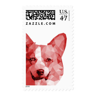 Corgi Low Poly Art in Red Postage