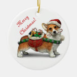 Corgi Double-Sided Ceramic Round Christmas Ornament