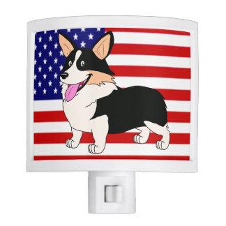 Corgi patriótico con la bandera luces de noche