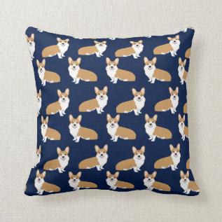Corgi Pattern Pillow - Cute Corgi Pillow Navy at Zazzle