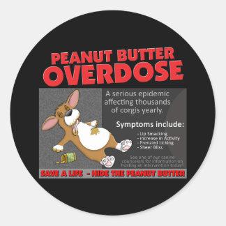 Corgi PB Overdose Round Sticker