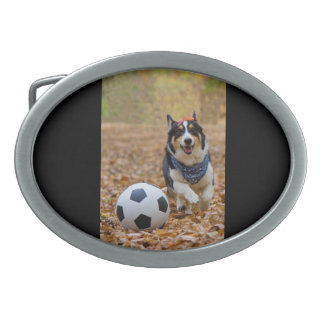 Corgi Playing Soccer Oval Belt Buckle
