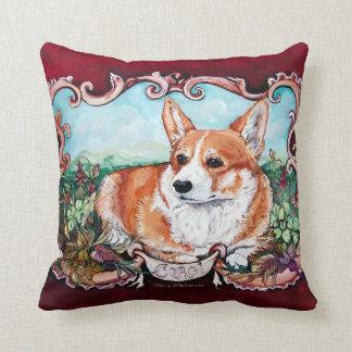 Corgi Portrait by Cherry O Neill Throw Pillow