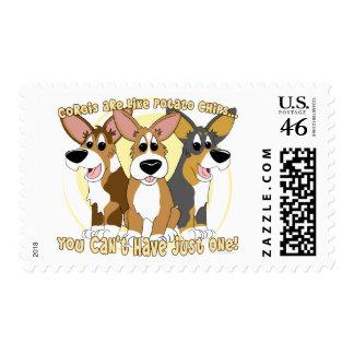 Corgi Potato Chips Postage Stamps