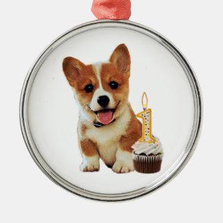 Corgi puppy and first birthday cupcake round metal christmas ornament
