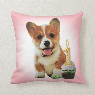 Corgi puppy and first birthday cupcake pillows