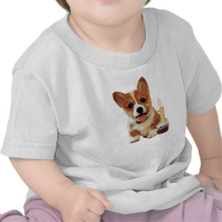 Corgi puppy and one candle shirts