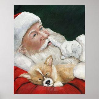 Corgi Puppy and Santa Dog Art Print