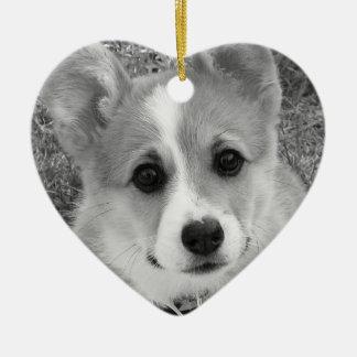Corgi Puppy Ceramic Ornament