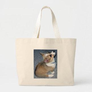 Corgi Puppy Gear Large Tote Bag
