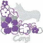 Corgi púrpura Galés del Pembroke del hibisco Sudadera Bordada Con Serigrafia