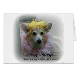 Corgi Queen birthday card