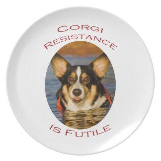Corgi Resistance is Futile Dinner Plate