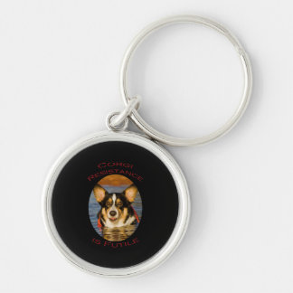 Corgi Resistance is Futile Silver-Colored Round Keychain