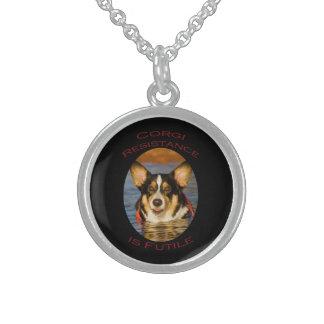 Corgi Resistance is Futile Sterling Silver Necklace