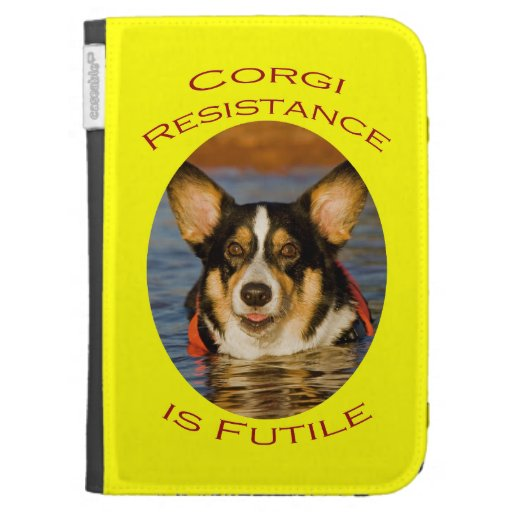 Corgi Resistance is Futile with Yellow Background Kindle Keyboard Case