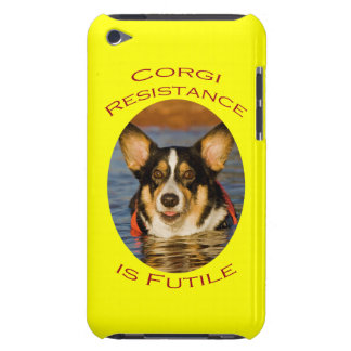 Corgi Resistance is Futile with Yellow Background iPod Touch Case-Mate Case