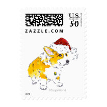 Corgi Santa Hat Postage Stamps