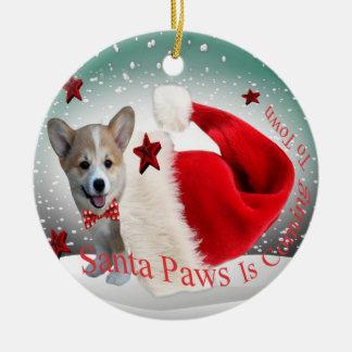 Corgi Santa Paws Christmas Ornament